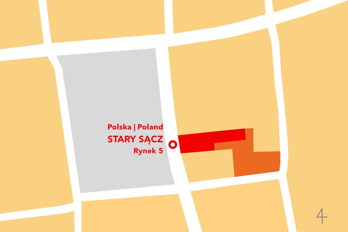 Lokalizacja. Budynki i przestrzeń związane z IMO Galerią w Starym Sączu.